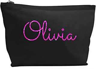 Treat Me Suite Personalised Name Make up Accessory Wash Bag in Black or Natural Colour. Metallic or Glitter Print Presents Birthdays