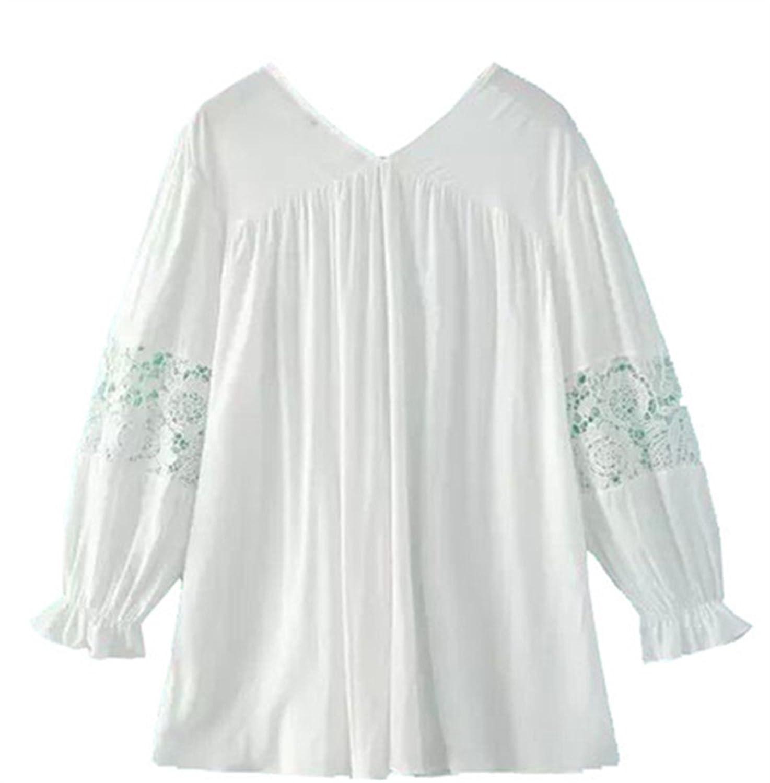 [美しいです] 女性 シャツ 七分袖 Vネック ゆっくり  欧米風 夏 レース