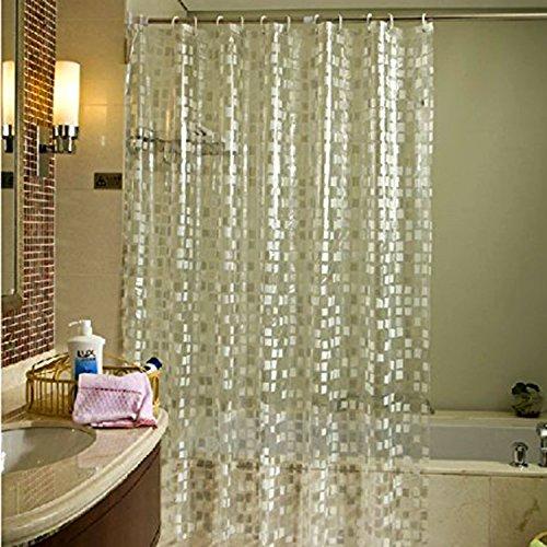 Pinzz semi PEVA trasparente impermeabile tende da doccia, stile moderno mosaici modello in metallo Mildewproof Easy Care 180x 180cm