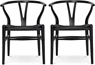 VODUR Wishbone Chair Natural Solid Wood Dining Chair/Hans Wegner Y Chair Rattan and Wood Accent Armrest Chair - Beech Wood Chair Set of 2(Beech Wood - Black)