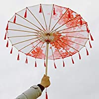 プロップ傘女性リボンタッセル古代衣装傘チャイナ漢服ショー傘古典シルクのダンス傘 (Color : Light Green)