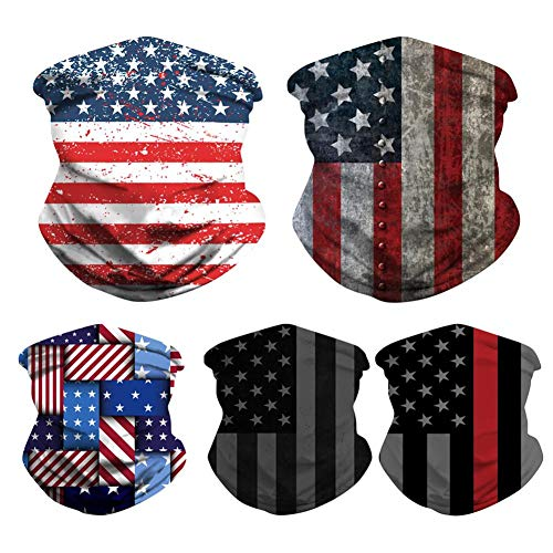 5PCS Unisex American Fag Striped Stars Print Face Bandanas Sports Headwear Multifunctional Seamless Rave Neck Gaiter Face Scarf Cover UV Protection Tube Headwrap Balaclava Women Men for Dust, Outdoor