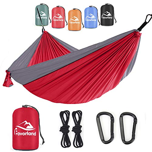 Favorland Camping Hammock for Hiking, Backpacking, Travel, Beach, Yard - Lightweight & Portable with Straps & Steel Carabiners Nylon (Red-Grey)