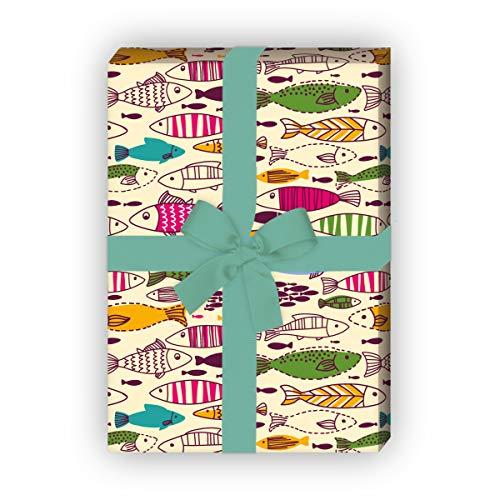 Kartenkaufrausch Kunterbuntes gelbes Geschenkpapier Set mit Doodle Fischen als maritime Geschenkverpackung um schön zu schenken, 32 x 48cm für Angler, Taucher