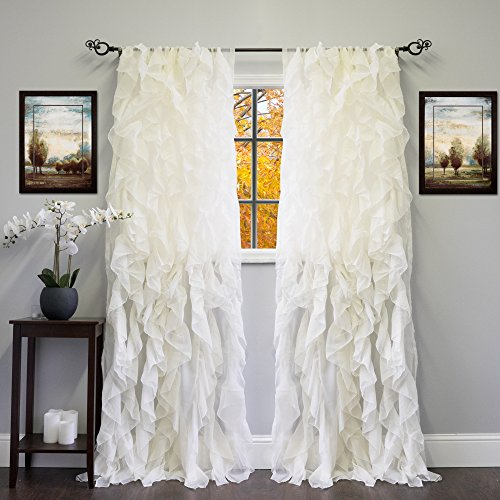 "Sweet Home Collection Sheer Voile Vertical Ruffled Window Curtain Panel 50"" x 84"", 84"" x 50"", Ivory, 2 Piece"
