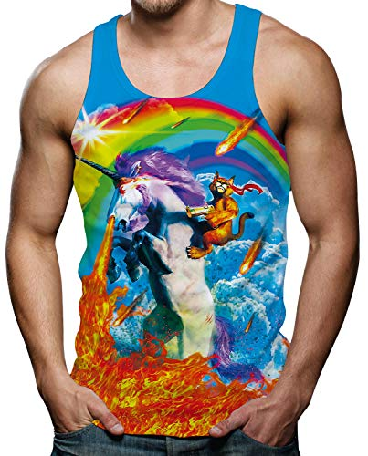 RAISEVERN RAISEVERN Herren Ärmellose T-Shirts Sport Top Tankshirt Tier Grafiken Tees L