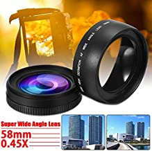 BEESCLOVER 58mm 0.45X Wide Angle Lens for Canon EOS 1000D 1100D 500D Rebel T1i T2i for T3i L3EF Camera Lens Accessories E One Size