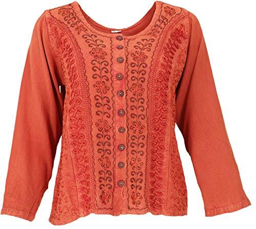 Guru-Shop - Blusa corta estilo boho chic, estilo indio hippie, manga larga, para mujer, color naranja, sintética, talla: 40, blusa y túnica naranja 42