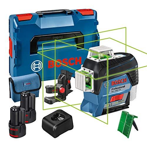 Bosch Professional 12V System Linienlaser GLL 3-80 CG (2x Akku 12 V, Ladegerät, grüner Laser, mit App-Funktion, Universalhalterung, Arbeitsbereich: bis 30 m, in L-BOXX) – Amazon Edition