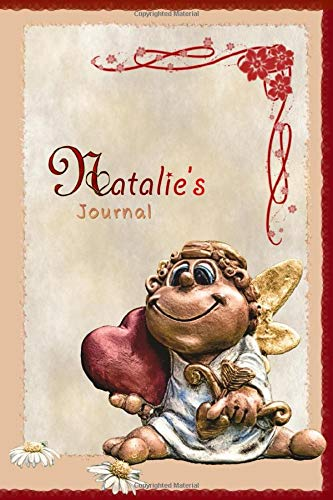 Natalie's Journal: Pretty Personalised Name Journal Notebook Gift For Women and Girls with the theme of Love (Valentines Day Cupid Angel), flip through the pages to see beating heart animation