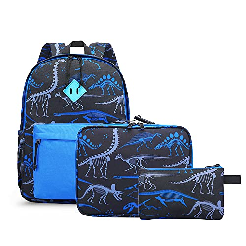 Preschool Backpack Kindergarten Elementary School Toddler Backpacks With Lunch Bag Pencil Case Set for Boys and Girls (Blue Dinosaur)