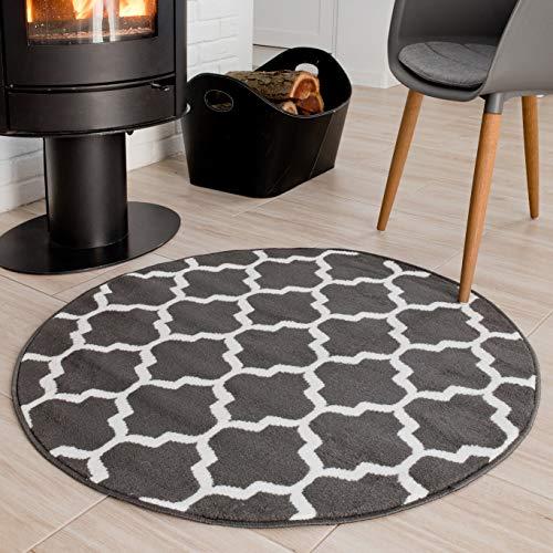 Tapiso Luxury Teppich Rund Grau Weiß Wohnzimmer Schlafzimmer Geometrisch Marokkanisch Gitter Design Modern Kreis Kurzflor ÖKOTEX 100 x 100 cm