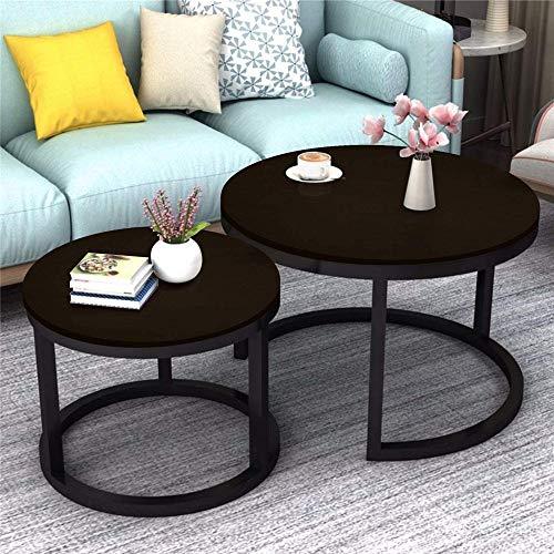 Mesa auxiliar para sala de estar 2 Ronda de té Tabla mesa central Escritorio gemelo determinado conjuntos de funciones múltiples Madera Acero Decoración para sala de estar, dormitorio