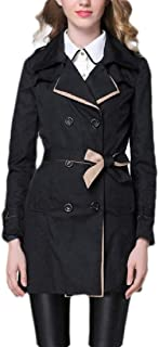 Women's Casual Lapel Trench Coat Jacket Double Breasted Outwear with Belt