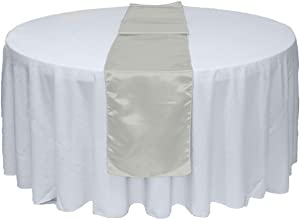 GWHome 5pcs 12 X 108 inches Satin Table Runner for Wedding Party Banquet Rectangular and Round Table (5, Silver)