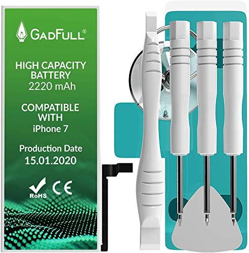 GadFull Akku kompatible mit iPhone 7 mit Hoher Kapazität | 2020 Baujahr | inkl. Reparaturset Anleitung & Profi-Kit Werkzeugsatz | ohne Ladezyklen | Funktioniert mit Allen original APN