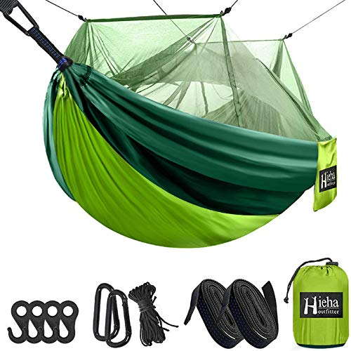 Hieha Camping Hammock with Mosquito Net, Portable Double/Single Travel Hammock w/Bug Insect Netting, Tree Straps & Carabiners for Outdoor Camping, Backpacking, Travel, Hiking, Backyard, Beach, Garden