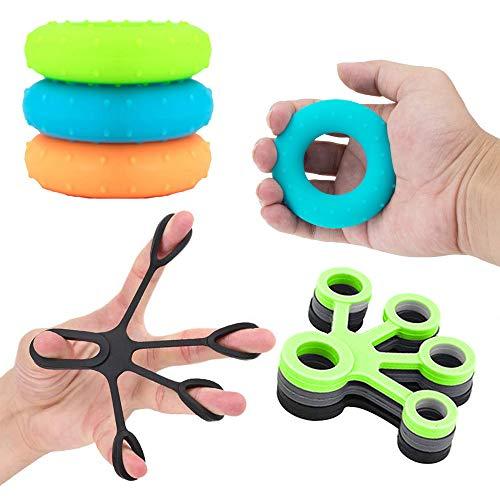 Hand Grip Set, 6 Pack Hand Grip Ring And Ball, Finger Strengthener, Forearm Grip, Hand Grips Strengthener, Finger Exerciser, Ginnico per Dito, Manopole Mani per Artrite Atleti Musicisti (6 Packs)