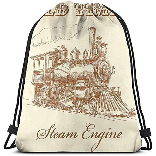 Mochila con cordón Bolsas Sport Gym Cinch Bag, Old Times Train Vintage Hand Drawn Iron Industrial Era Locomotive