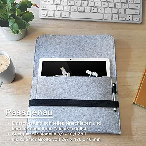 ROYALZ Filz Tasche für Blackview Tab8 Tablet Hülle 10.1 Zoll 2020 (LTE, Wi-Fi) Schutzhülle Sleeve Design Cover Case, Farbe:Grau