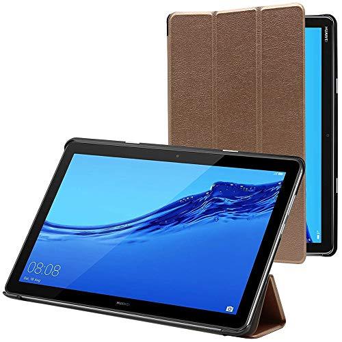 ebestStar - kompatibel mit Huawei MediaPad M5 Lite 10.1 Hülle Tablet 10.1 Schlank SmartCover [Ultra Dünn] Schutzhülle Etui Ständer Hülle Cover, Gold [M5 Lite 10.1: 243.4 x 162.2 x 7.7mm, 10.1'']