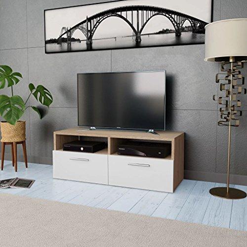 Tidyard Mesa para TV Mueble TV Salón Mesa Televisión Mueble Comedor Televisor Bajo con 2 Estantes y 2 Armarios Estilo de Moderno PVC 95x35x36cm Roble y Blanco