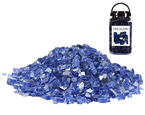 JYHF Feuerglas für Feuerstelle, 4,5 kg, 1,27 cm hoch, glänzend, kobaltblau, Glassteine für Natur- oder Propangaskamine, Feuerstelle, Glas für Außen- und Innenbereich, Feuerstelle, Glas