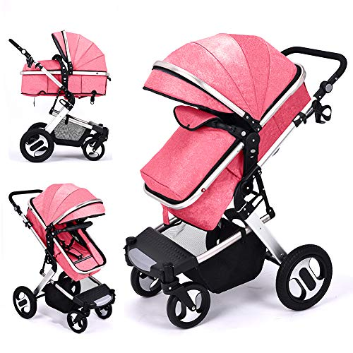 RUXGU High landscape Pushchairs 2-in-1 Baby stroller Travel Systems Folding Lightweight Newborn Safety System With Rain Cover and Mom Bag(Pink)