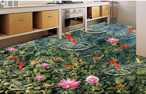 Hoge Kwaliteit PVC Tegel Vloeren Aangepaste Vinyl Vloeren Lijmen Goudvis Inkt Jade 3D Muur Muren Behang 3D Vloeren Keuken 300cm(L)x210cm(W)