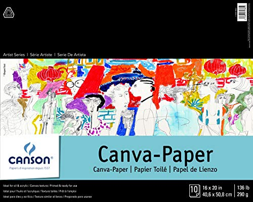 "Canson 100510843 Foundation Series Canva-Paper Pad Primed for Oil or Acrylic Paints, Top Bound, 136 Pound, 16 x 20 Inch, 10 Sheets, 16"" x 20"", 0"