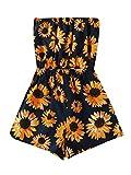 Floerns Women's Summer Floral Strapless Short Romper Jumpsuit A Navy Sunflower L