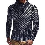 Jersey de Cuello Alto para Hombre, Jersey con Hebilla de Cuero, Jacquard a Cuadros Decorativos, Color sólido,...