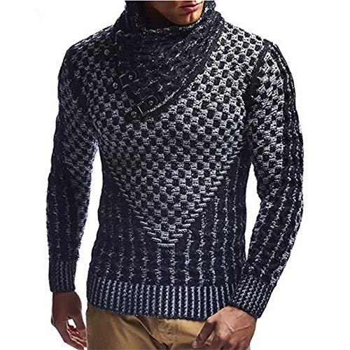 Suéter para Hombre Personalidad Cuello Alto Diseño de Botones Color sólido Slim Fit All-Match Streetwear Jersey de Punto Europa y América M