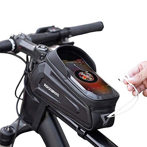 Bolso del marco delantero del teléfono de la bicicleta, la bolsa de manillar de tubo superior a prueba de agua con la pantalla táctil y la visera del sol, ajusta a los teléfonos celulares de 6,5 '