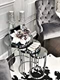 Avellino Luxury Furniture, Coffee Tables, Set of 3 End Tables, Nesting Tables for Living Room, Stacking Side Tables, Silver