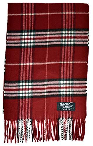 Sciarpa da donna, 100% Climaxsoft, morbida come cashmere, Made in Germany, tinta unita e a quadretti, 180 x 30 cm 5- Rosso a quadri taglia unica