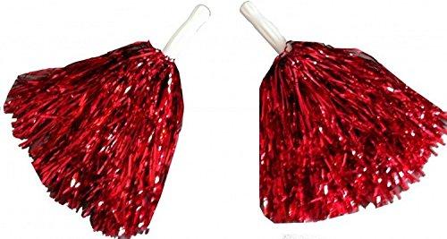 1 Paar Cheerleader Pom Poms Tanzwedel Puschel Tanzpuschel Wedel Pompoms in rot NEU