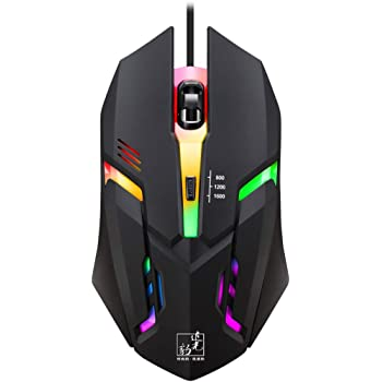 FEDULK Wired Mice Colorful LED Light 4 Button 1600DPI Optical USB Ergonomic Pro Gamer Gaming Mouse