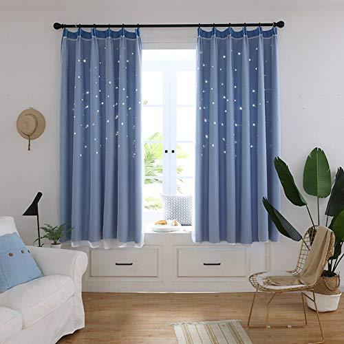 CXL Vorhänge Hohles Sternmuster gedruckt hoch schattierte Doppelvorhänge Schlafzimmer Wohnzimmer Vorhänge-blau