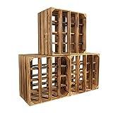 CHICCIE 3 Set Weinregal Wino aus Holz - Geflammt + Regal Holzkiste