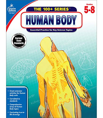 Carson Dellosa The 100+ Series: Human Body Workbook―Grades 5-8 Science Book, Human Anatomy, Bones, Muscles, Organs, the Nervous System, Health and Nutrition (128 pgs)