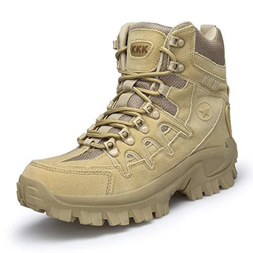 Botas de Senderismo de Cuero de Gamuza para Hombre al Aire Libre Zapatos de Trekking de caña Alta Botas tácticas Militares Antideslizantes y Resistentes al Desgaste