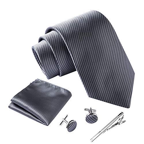Massi Morino ® Herren Krawatte Set mit umfangreicher Geschenkbox grau graue gestreift striped graufarben hellgrau grauekrawatte gestreiftekrawatte steingrau Streifen Streifenmuster Streifenmotiv