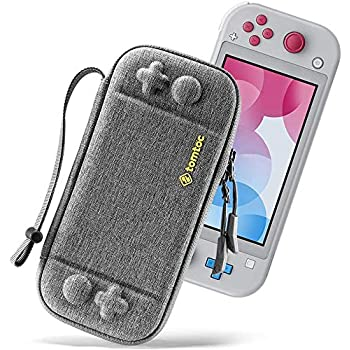 tomtoc Slim Carry Case for Nintendo Switch Lite, Protective Portable Carrying Cases with [Original Patent], Travel Storage Hard Shell with 8 Game Cartridges and Military Level Protection, Gray