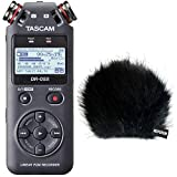 Tascam - Grabadora de audio DR-05X con función de interfaz y protector contra el viento de pelo de Keepdrum