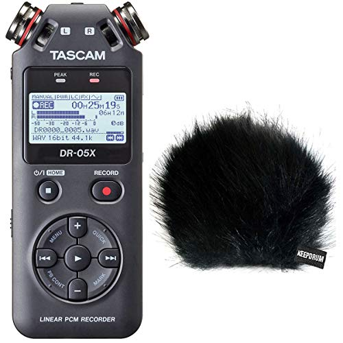 Tascam Enregistreur audio DR-05X avec fonction d'interface et protection contre le vent en fourrure Keepdrum.