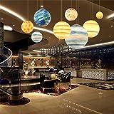 WEM Nordic Modern Creative Universe Planet Lampadario in resina Soggiorno Ristorante Hotel Cafe Bar Plafoniera E27,Urano,Diametro 40 cm