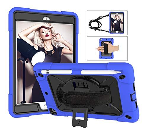 SZCINSEN Robot de contraste de color 3 en uno anticaídas, adecuado para iPad mini1/2/3 funda de tableta, soporte giratorio de mango multifunción [correa para el hombro] (color azul oscuro y negro)