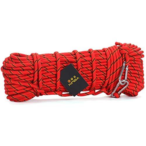 MODKOY Professionelles Nylon-Outdoor-Seil, (10-100m) Lang, 10mm Dick, Reißfestes Kletterseil Red 10mm-100m