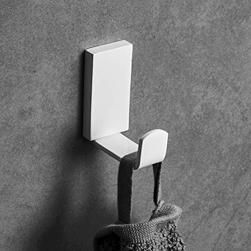 Beelee Crochet à Serviette Crochet Mural de Salle de Bains, Acier Inox, Forme Carrée, Montage Mural, Blanc, BA19307W